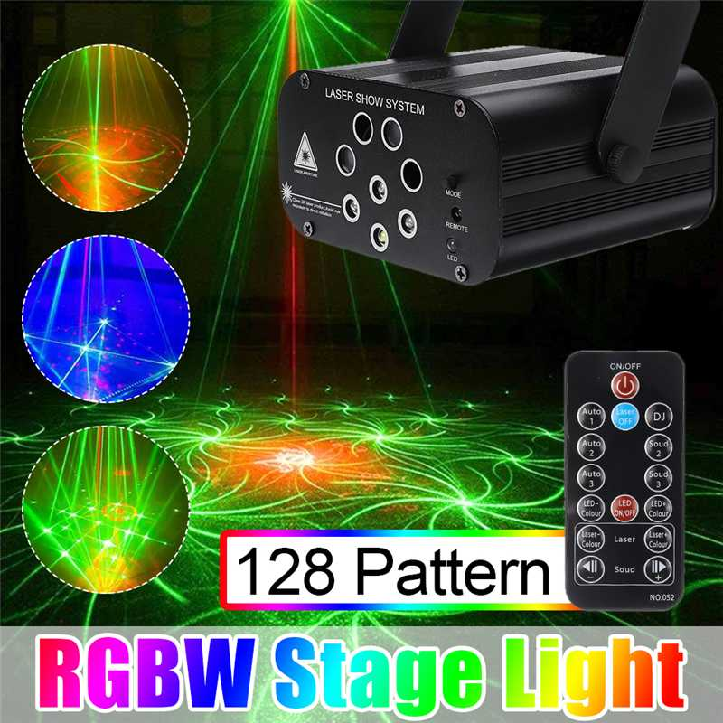 128 Pattern Laser Projector Remote/Sound Actived LED Disco Light RGB DJ Party  Light Christmas Lamp Decoration US/EU
