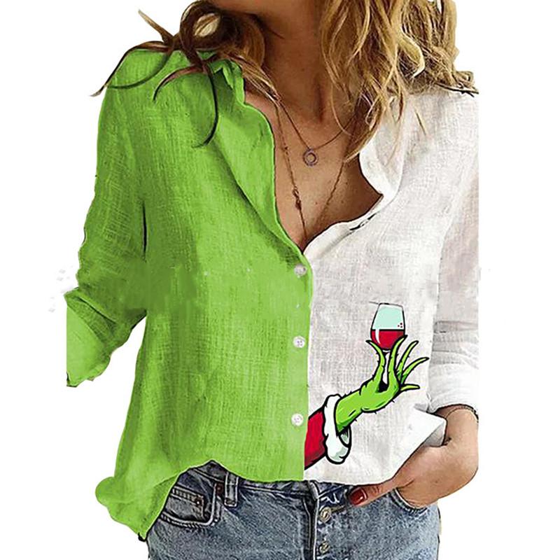 Fashion Green Stitching Wine Glass Print Shirt Autumn Women's Lapel Long Sleeve Office Blouse Elegant Ladies Plus Size Tops 3XL
