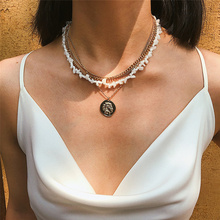 Boho Multi Layer Natural stone Chain Necklace for Women Portrait Pendant Handmade Party Jewelry