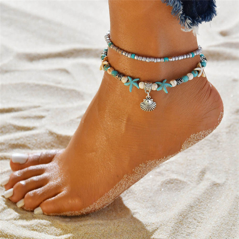 WUKALO Vintage Shell Beads Anklets For Women New Multi Layer Anklet Leg Bracelet Bohemian Beach Ankle Chain Jewelry Gift