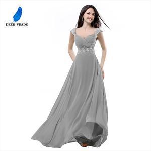 Image 4 - DEERVEADO A Line Cap Sleeve Sweetheart Chiffon Plus Size Long Evening Dress Gown Elegant Formal Dresses Robe De Soiree S321