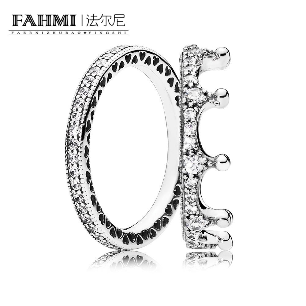 FAHMI 100% 925 Sterling Silver 1:1 RAU0405 HEARTS OF STACKABLE RING ENchanted Crown Ring Charm Eternal Women's Gift Set Jewelry