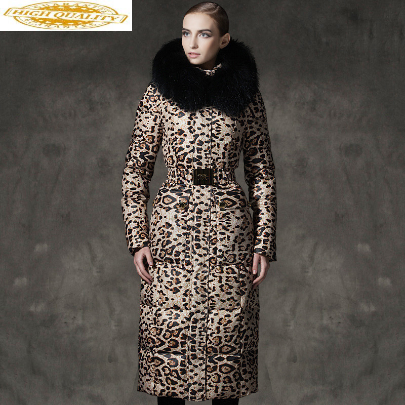 White Down Jacket Woman Hooded Leopard Winter Coat Women Long Warm Puffer Jacket Raccon Fur Collar Chaqueta Mujer My206 Kj2603