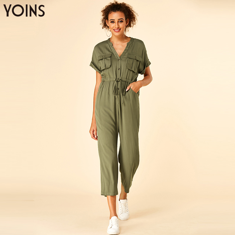 YOINS 2019 Summer Stylish V-neck Jumpsuit Button Side Pockets Short Sleeves Lace-up Playsuit Casual Drawstring Waist Bodysuit