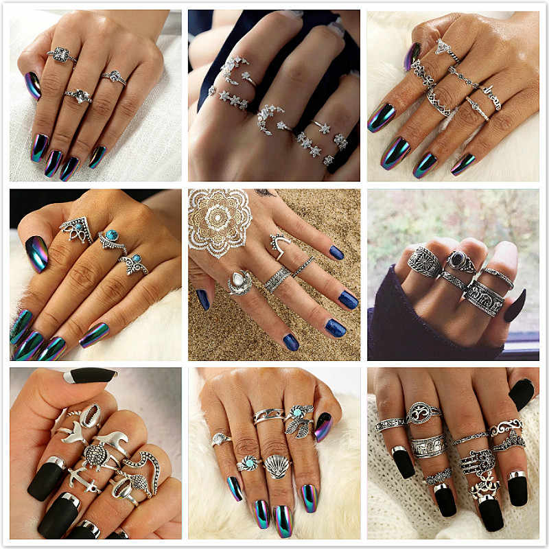 1 Set Sell Starry Night Shining Vintage Knuckle Rings Women Geometric Flower Crystal Ring Set Bohemian Jewelry 25 Set