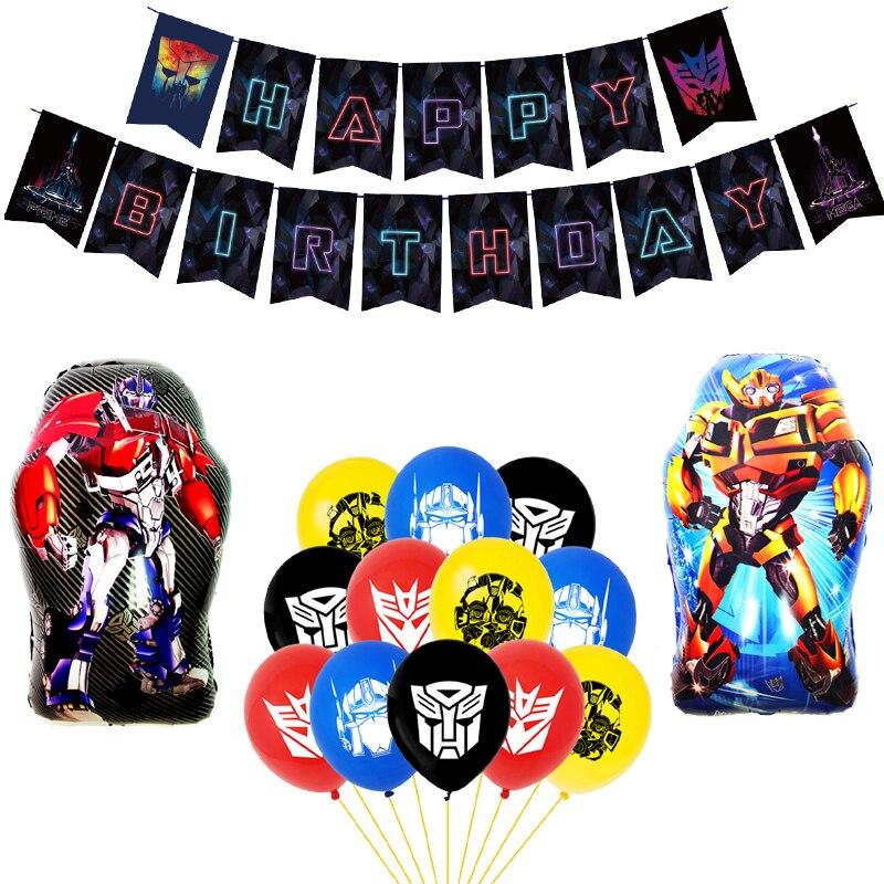 1 набор преобразования Фольга воздушные шары черный, красный желтая Пчелка» воздушных шаров из латекса, Robot Car вечерние баннер на день рожден...