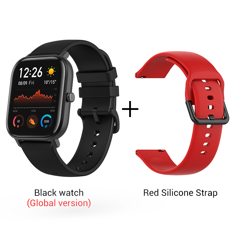 СМАРТ-ЧАСЫ XIAOMI HUAMI AMAZFIT GTS- Выглядит как часы Apple - Цвет: Black n Red strap