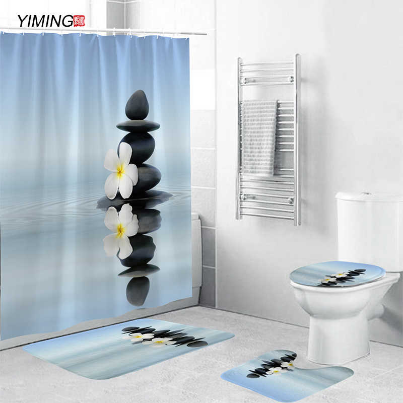 ensemble de rideaux de decoration de salle de bain 180x180 impression zen tapis antiderapant tapis de couverture de toilette ensemble de rideaux