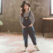 Overalls Girls High Quality Loose Jeans Overalls New Spring Autumn Teenager Cotton Jumpsuit Denim Jeans Pants 5-13Y Baby Girl women pure cotton denim overalls camouflage jeans high quality fashion loose hip 106cm waist 102cm girls harem pants d206