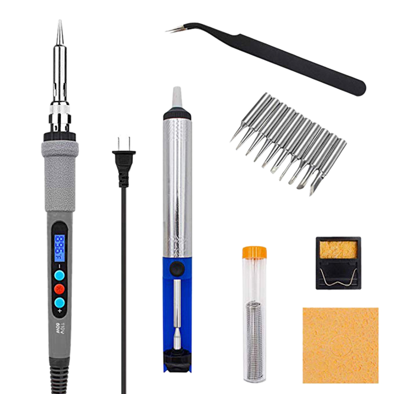 60W 110V Soldering Iron Kit Adjustable Temperature Soldering Tool With Constant Temperature Digital Control And Lcd Screen Displ