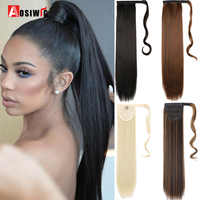 AOSI 24 Lange Lockige Clip In Haar Wrap Um Falsche Pferdeschwanz Haarteil Haarnadeln Synthetische Wärme Beständig Pony Schwanz Haar erweiterung