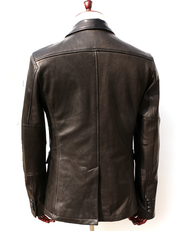 2020 Men's Litaly Genuine Smart Casual Slim Fit Goat Skin Three Buckles Leisure Suit Men Leather Jacket Male