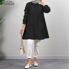 Pullover Muslim-Tops Blouse Long-Sleeve Fashion Solid Casual ZANZEA Spring Blusas Autumn