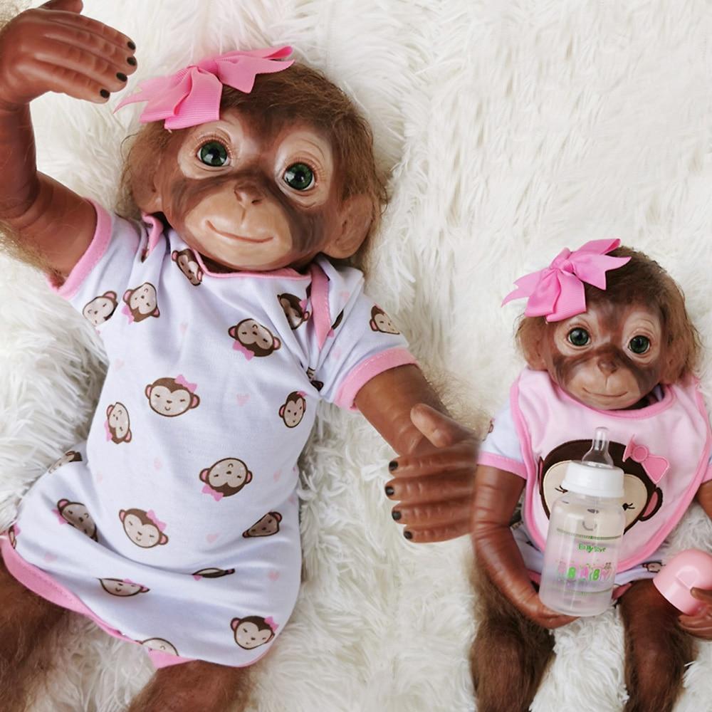 """16/"""" Lifelike Soft Vinyl Reborn Newborn Baby Monkey Boy Doll Toy Gift Blue"""