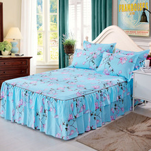 3 pcs Bed skirt bed sheets Skin care printing pad protective cover 1 pc and 2 pillowcases perpel