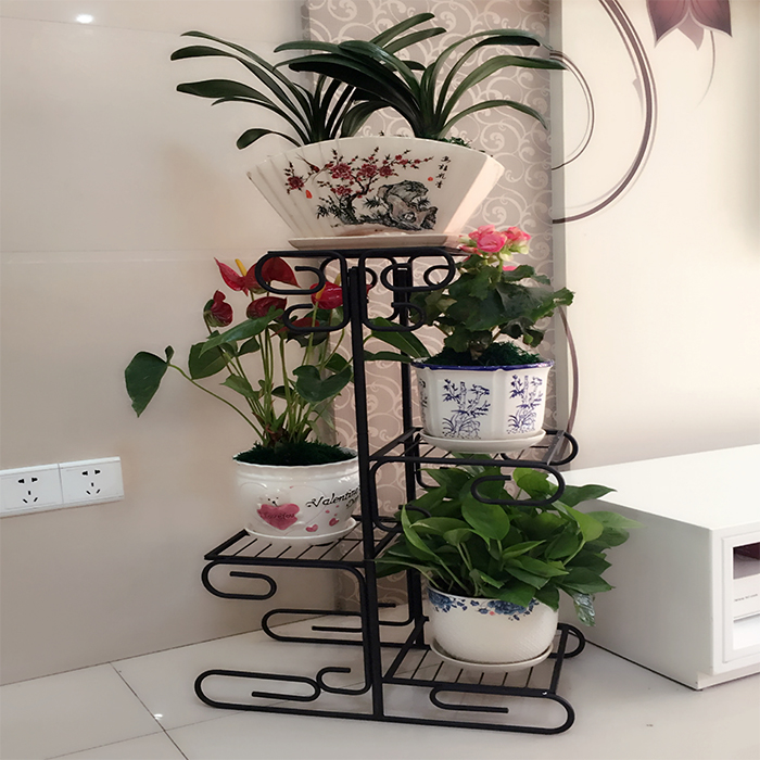 Multilayer, Wrought Iron Showy Sitting Room Floor Balcony Potted Indoor Decorative Money Plant Flowers Bracket Green Plant Pots