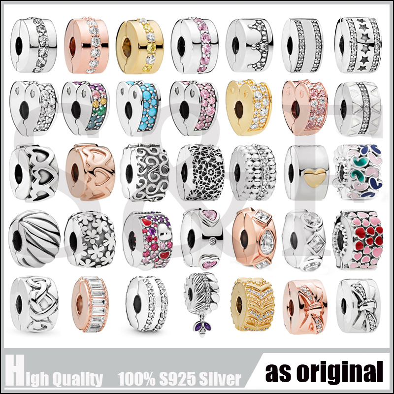 Fashion Charms Spacer Clips Stopper Charm Real 925 Sterling Silver Bead Fit Original Pandora Bracelet Bangles Jewelry making(China)
