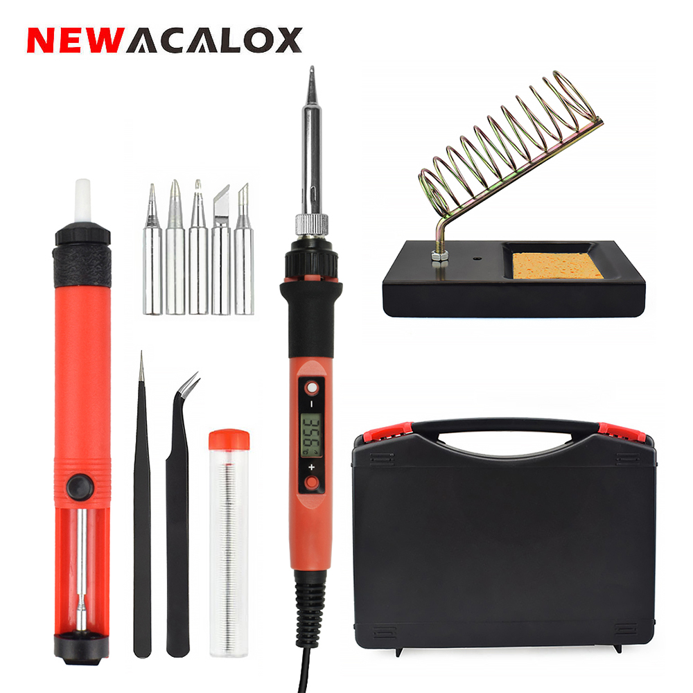 NEWACALOX EU/US 80W Digital Soldering Iron LCD Display Temperature Adjustable Welding Rework Station Tools Lead-free 180-480C