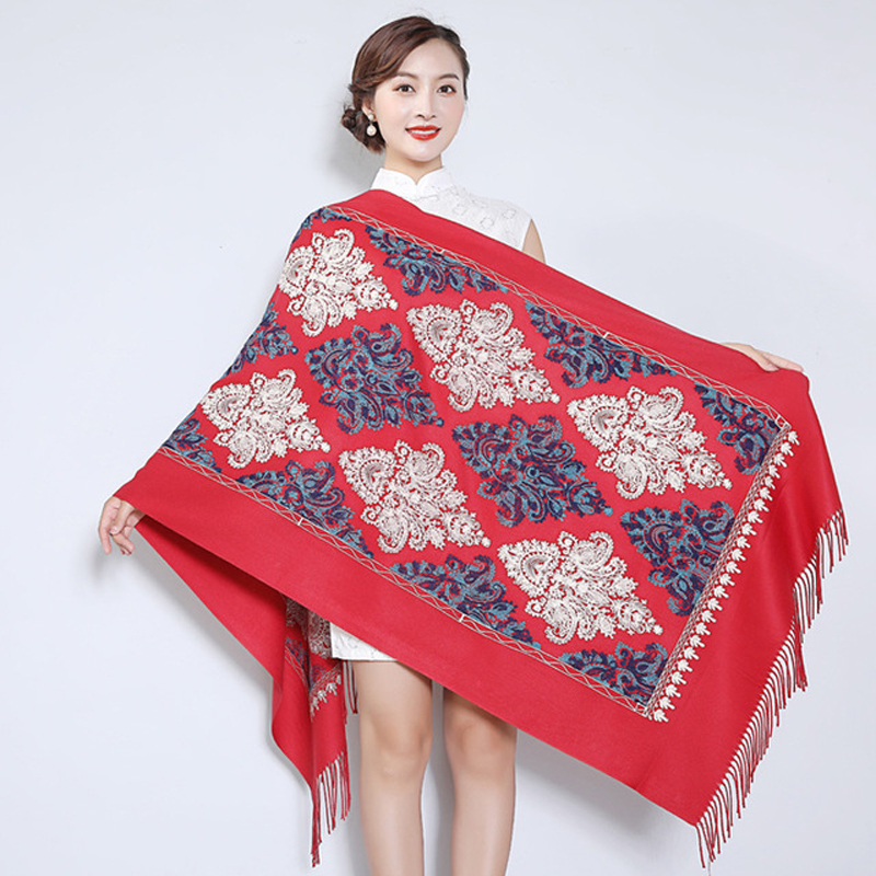 Oversize Women Embroidery   Scarf     Wrap   Autumn Winter New Cashmere Pashmina Thickening Travel Edging   Scarf   Shawl Warm And Soft