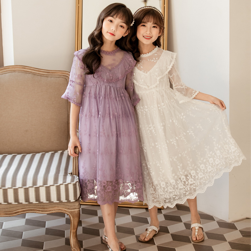 Princess Purple Lace Long Dress for Big Girl New 2020 Summer INS Girls Clothing 4 <font><b>6</b></font> 8 <font><b>10</b></font> <font><b>12</b></font> 14 years white party dress o school image