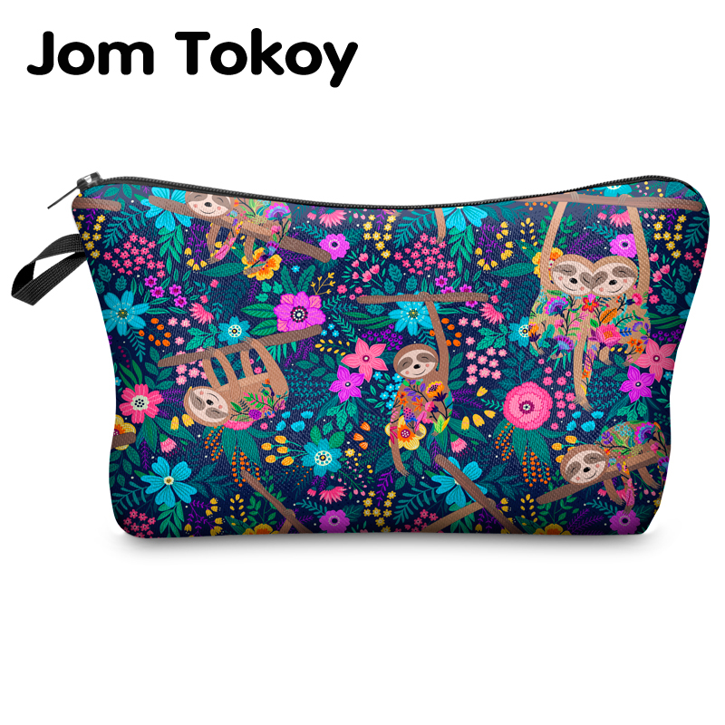 Jomtokoy Women Cosmetic Bag Sloth Pattern Digital Printing Toiletry Bag For Travel Organizer Makeup Bag Hzb1010
