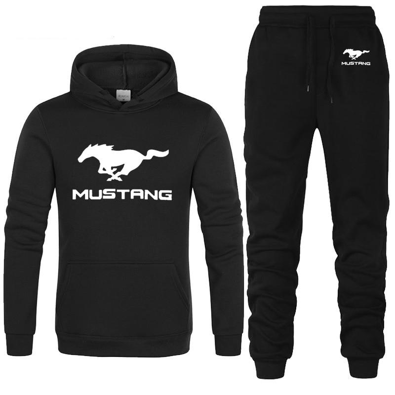 Hoodies Men Mustang Car Logo Printed Unisex Sweatshirt Fashion Men Hoodie Hip Hop Harajuku Casual Fleece Hoodies Pants Suit 2Pcs