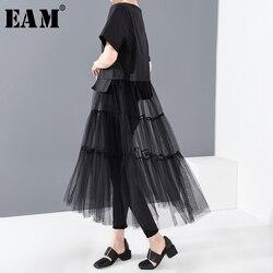 Женское платье-рубашка EAM, черное Сетчатое платье большого размера с коротким рукавом и круглым вырезом, весенне-летняя мода 2020 1T98001
