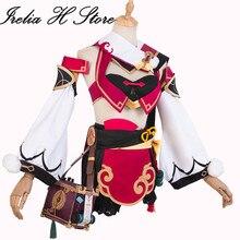 Irelia H Store Yan Fei Cosplays Genshin Impact Yan Fei Cosplay Costume dress female Halloween Costume Party lovely dress