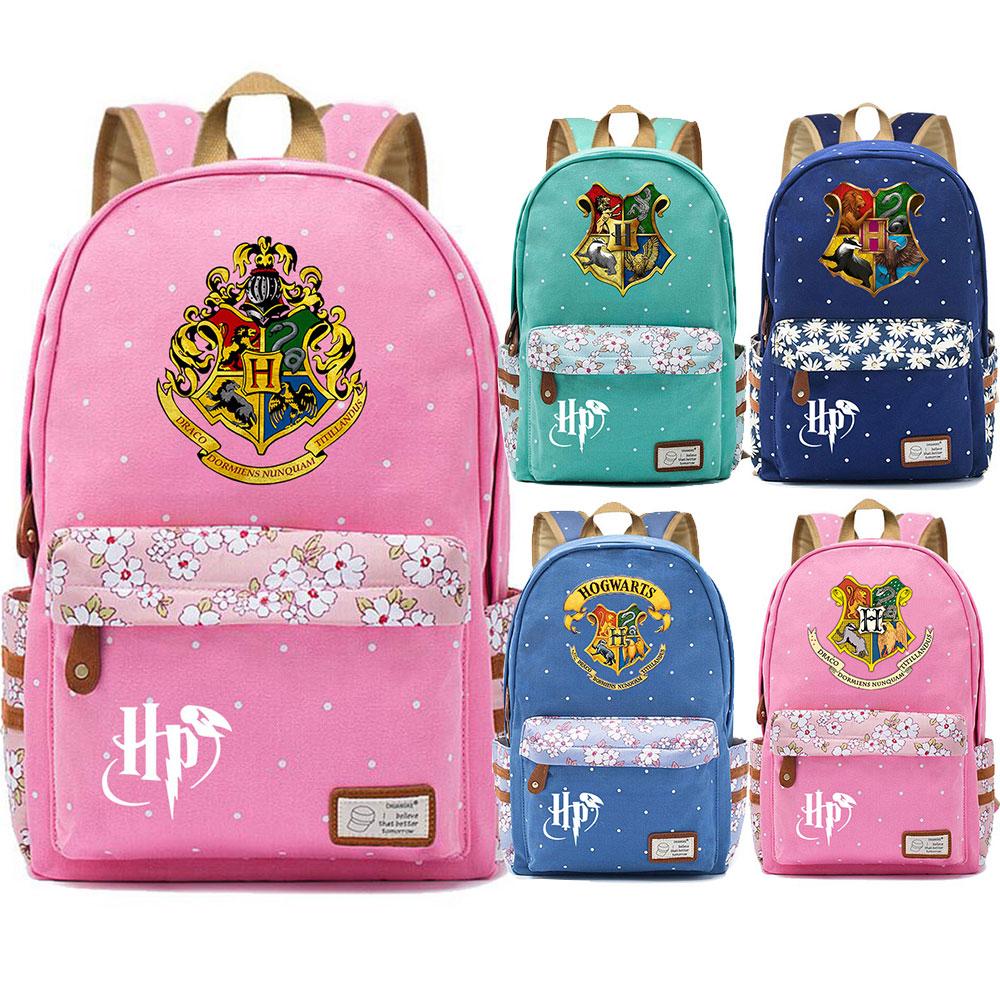F0304 Magic Hogwarts School Logo Prints Children Schoolbag Girls School bag Women Bagpack Teenagers Canvas Lady Femme BackpackBackpacks   -