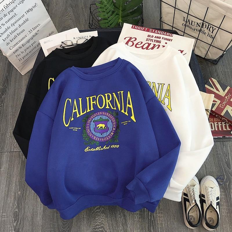 2019 Autumn Sweatshirt Hoodies Letter Print Casual Motion Pullover Korean Kawaii Fleece Tops Harajuku Hoodies Women Kpop Clothes