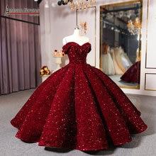 TikTok Al Largo della spalla vino rosso abito da sposa abito di sfera della principessa del vestito da sera del vestito da partito del vestito da promenade