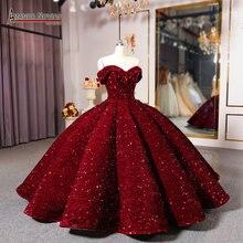 Tiktok 오프 숄더 와인 레드 웨딩 드레스 볼 가운 공주 이브닝 드레스 파티 드레스 파티 드레스