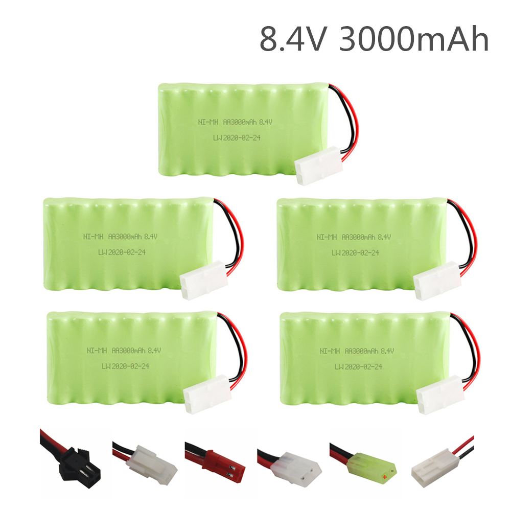 5PCS 8.4v 3000mAh NiMH Rechargeable Battery For Rc Car Tanks Trains Robot Boat Gun Toys Ni-MH AA 2400mah 8.4v Battery image