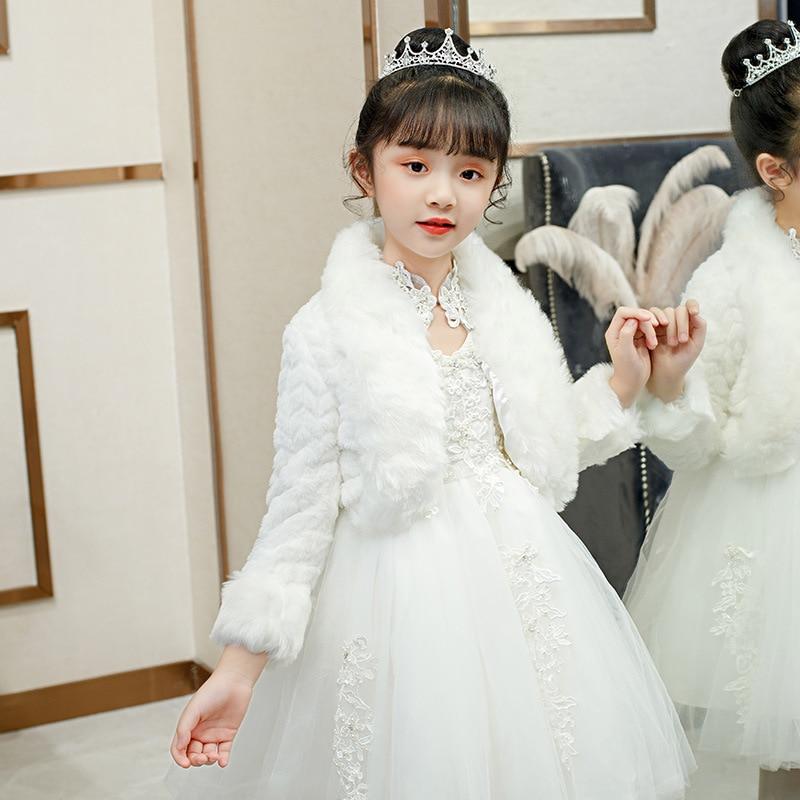 Warm Faux Fur Jacket Girls Party Prom Shrugs Kids Fur Bolero White Wedding Frower Girls Bolero Jacket Fur Cape Shawl