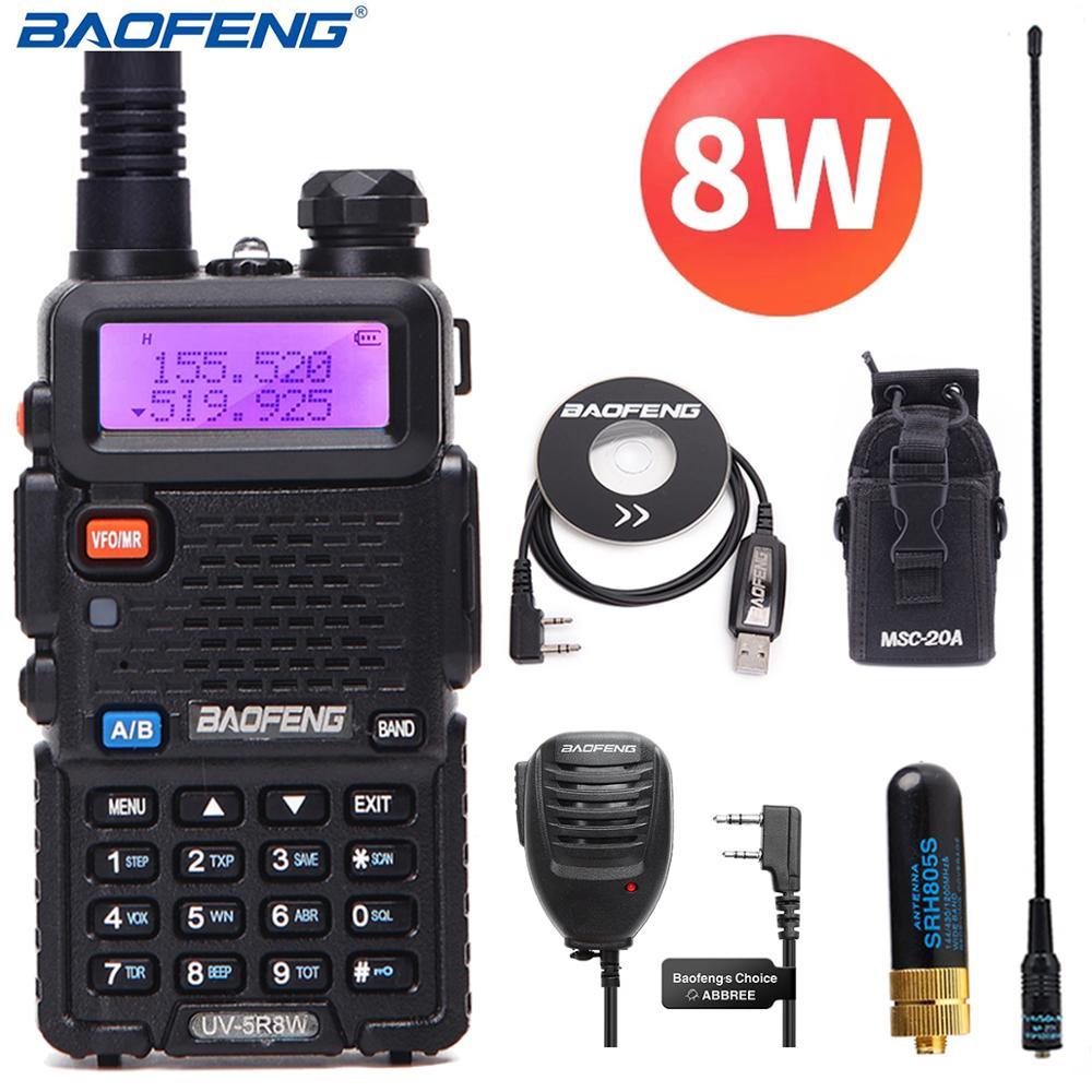 Портативная рация Baofeng UV-5R 8 Вт высокой мощности, двусторонняя радиосвязь, cb Портативная радиостанция, дальность действия 10 км, pofung UV5R, для ох...