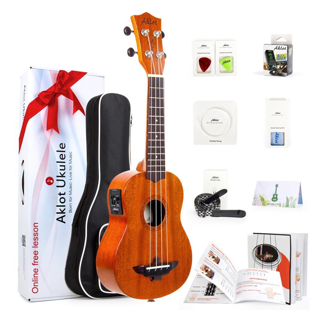 aklot - Aklot Electric Ukulele Solid Mahogany w/ Online Video Ukelele Soprano Concert Tenor Uke 4 String Guitar with Strap String Tuner