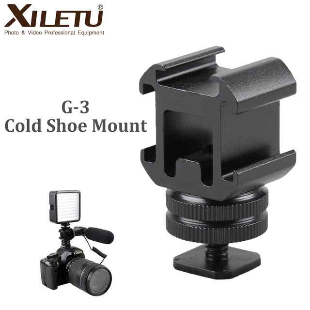XILETU G3 Cold Shoe Camera Mount Adapter Extend Port for Canon Nikon Pentax DSLR Cameras for Mic Microphone LED Video Fill Light