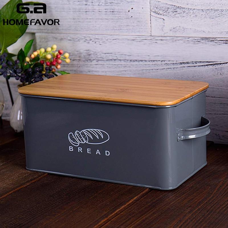 Caixas de armazenamento Caixas de Pão Com Placa De Corte De Bambu Tampa de Metal Galvanizado Caixa de Lanche Lida Com Design Recipientes de Cozinha Decoração de Casa
