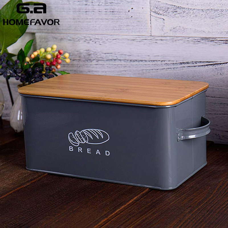 Storage Boxes Bread Bins With Bamboo Cutting Board Lid Metal Galvanized Snack Box Handles Design Kitchen Containers Home Decor(China)