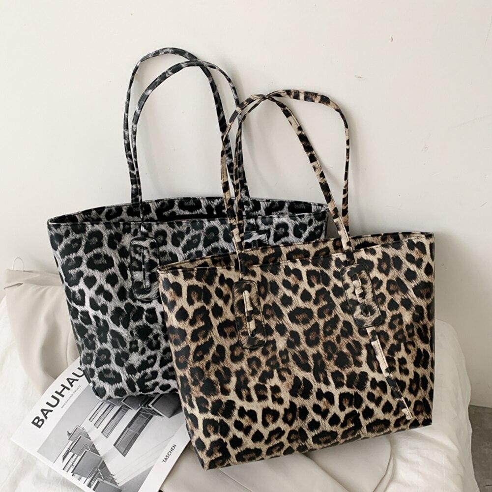 Женская обувь в стиле ретро; В леопардовой черно-белой расцветке с животным принтом сумка Портативный большой Ёмкость сумки тоут из искусст...