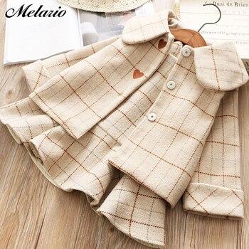 Melario New Kids Girl Dress Winter Plaid Girls Dresses Long Sleeve Girls Clothing Top Coat Strap Dress 2pcs for Children Suit