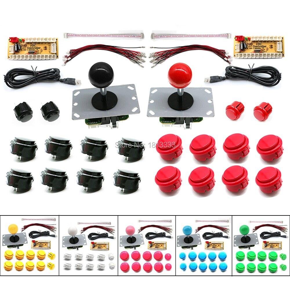 Комплект для самостоятельной сборки SANWA Arcade, 2 игрока, контроллер для настольных игр с нулевой задержкой, джойстик, кодировщик для ПК/Raspberry Pi ...