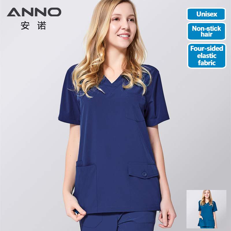 ANNO Medical Scrub Set Non Sticky Hair Pet Hospital Uniform For Women Men Clinical Nursing Gown With Four Sided Elastic Fabric