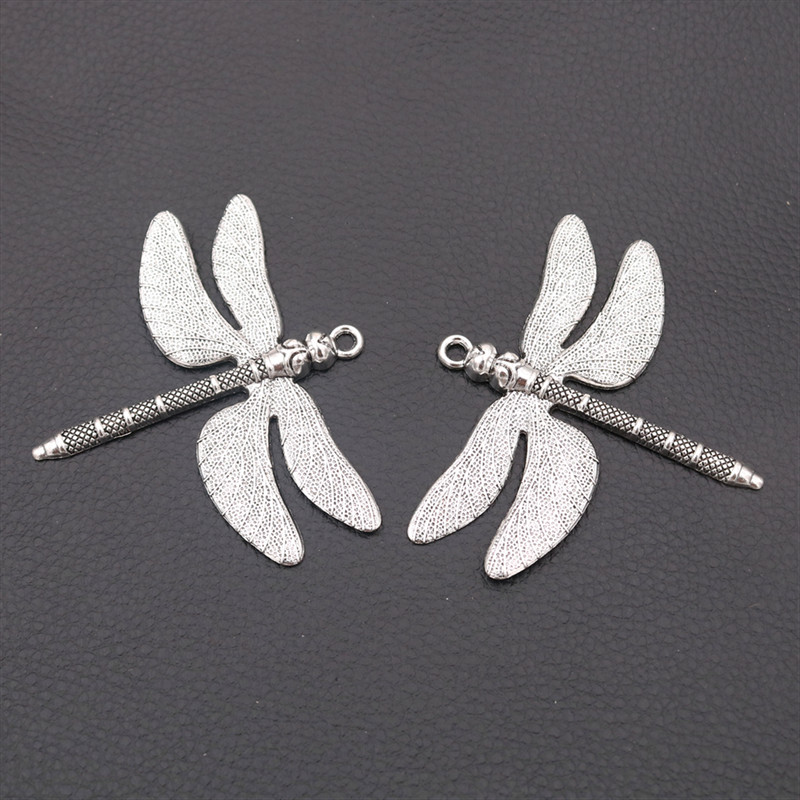 3pcs Silver Color Color Large Dragonfly Charm Vintage DIY Necklace Pendant For Woman Jewelry Handicraft Making 72*63mm A2208