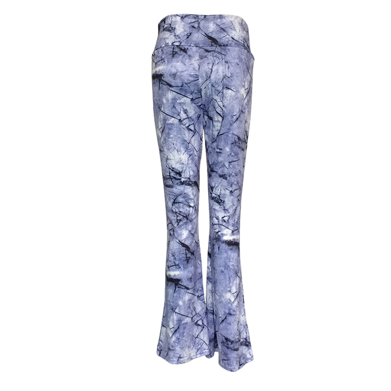 Ozhouzhan Summer High-End Women's Ink Painting Lightweight Breathable Body Hugging Print Pants Women's Loose-Fit Bell-bottom Pan