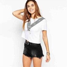 Short T Shirt Women Lumbar Belly Simple Cotton Tshirt Clothes 2019 Tee Femme S M L XL XXL Sleeve 5027