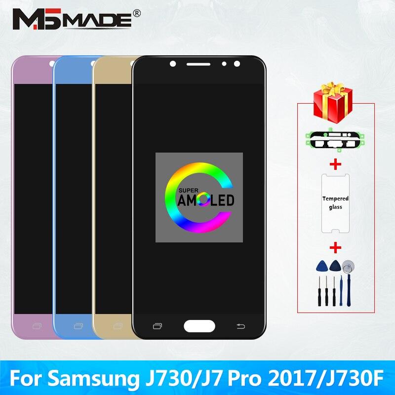 Original super amoled lcd para samsung galaxy j7 pro 2017 j730 j730f display lcd e tela de toque digitador assembléia