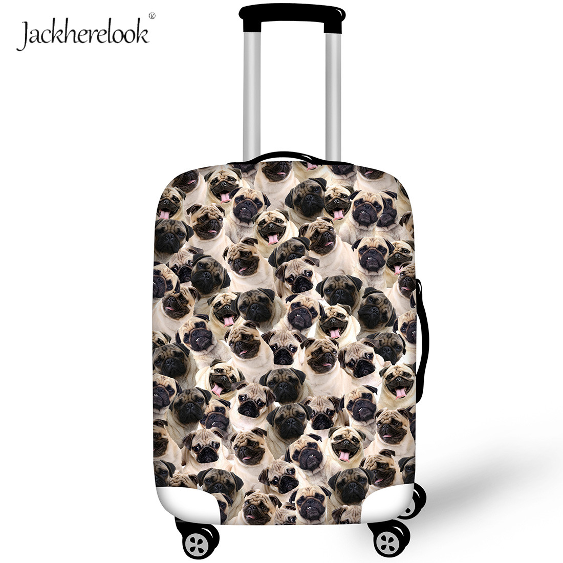 Jackherelook Pug Dog Collage Suitcase Case Cover Bulldog/Husky/Poodle/ Printing Trolley Buggage Bags Protector Box Elastic Cover
