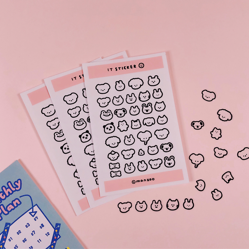 1Pc Ins Creative Cute Mini Stickers Pink Animal Stickers Expression Pack Phone Stickers Handbook Material Decorative Sticker