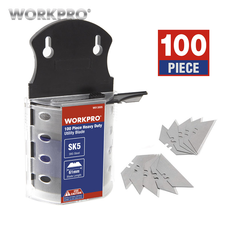 WORKPRO Utility Knife Blades Original Blades Heavy Duty Blades for knife SK5 Steel Knife Blades 100PCS/Lot-in Knives from Tools
